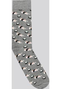 Meia Masculina Divertida Estampada De Sushi Cano Longo Cinza Mescla Escuro