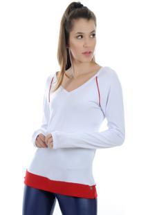 Camiseta Manga Longa Pinyx Shine Branco E Vermelho
