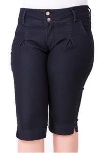 Bermuda Jeans Maria João Com Elastano Plus Size Feminino - Feminino-Azul