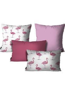 Kit Mdecore Com 4 Capas Para Almofadas Flamingo Rosa