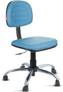 Cadeira Secretária Costura Cromada Courvin Azul Claro
