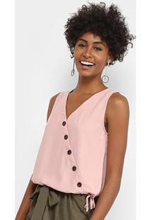 Regata Lily Fashion Transpasse Botões Feminina - Feminino-Rosa