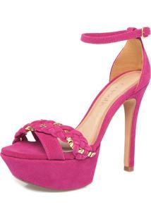 Sandália Crysalis Camurça Tranças Rosa/Dourado