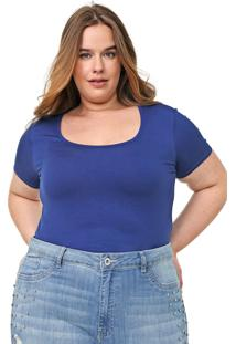 Blusa Lnd Lunender Mais Mulher Plus Lisa Azul