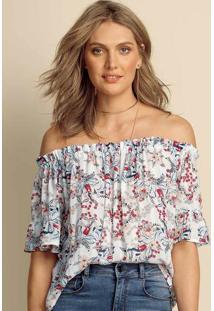 Blusa Feminina Em Tecido De Viscose Estampada Com Fio Metálico