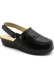 Babuche Feminina Anabela 292 Em Couro Preto Com Alça Reversível Doctor Shoes - Feminino-Preto