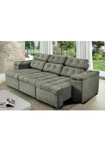 Sofa Itália 2,40 Mts Retrátil E Reclinavel Tecido Suede Cinza - Cama Inbox