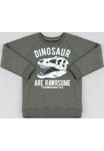Blusão Infantil Em Moletom Dinossauro Decote Redondo Verde Militar