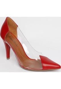 Scarpin Com Recortes Em Couro - Vermelho & Incolor -Vogue