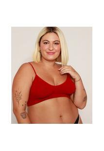Sutiã Feminino Plus Size Demillus Top Sem Costura Vermelho