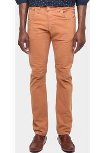 Calça Zune Skinny Color Elastano - Masculino-Cáqui