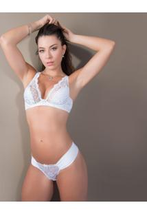 Calcinha Tanga Com Renda - Feminino-Branco