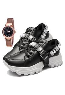 Tênis Sapatênis Fashion Com Relógio Gold Feminino Dubuy 699El Preto