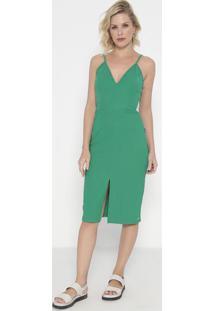 Vestido Canelado Com Fenda- Verde- Colccicolcci