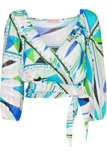 Emilio Pucci Bes Print Wrap Top - Verde
