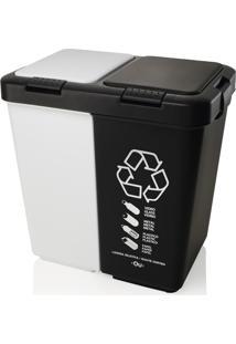 Lixeira 40 Litros Com Tampa Duo Ou - Branco/Preto - Multistock