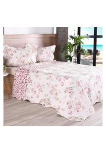 Kit 1 Cobre Leito King + 2 Porta Travesseiro Bouti Rolinho Floral - Bene Casa
