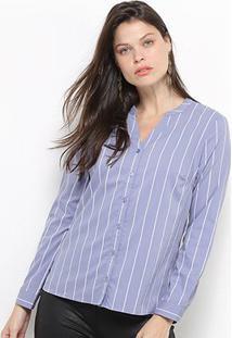 Camisa Social Facinelli Listras Feminina - Feminino-Azul