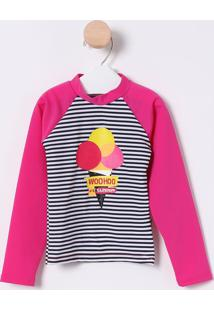 Camiseta Sorvete Com Fps 50+- Pink & Branca- Puketpuket