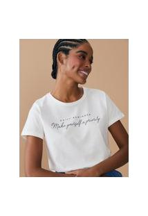 Amaro Feminino T-Shirt Regular Make Yourself A Priority, Off-White