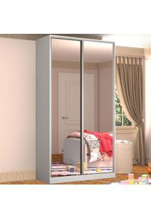 Guarda-Roupa Solteiro 2 Portas Correr 2 Espelhos 100% Mdf Rc2005 Branco - Nova Mobile