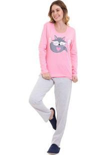 Pijama De Inverno Raposa Feminino Manga Longa Luna Cuore Chiclete P