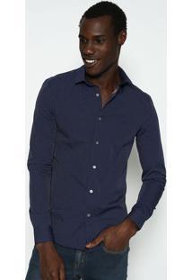 Camisa Slim Fit Poã¡ - Azul Marinho & Brancacalvin Klein