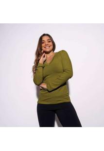 Blusa Caqui Gola V Lisa Bl339 Verde