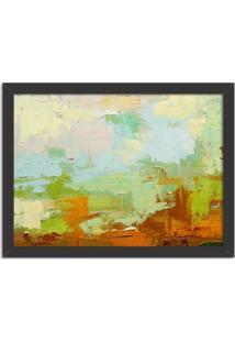Quadro Decorativo Abstrato Moderno Verde Pincel Preto - Médio