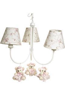 Lustre 3L Ariel Com 3 Ursinhas De Tiara Quarto Bebê Infantil Menina Potinho De Mel - Kanui