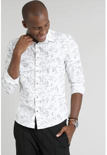 Camisa Masculina Slim Estampada De Folhagens Manga Longa Branca