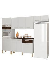 Cozinha Compacta Com Balcáo Versalhes 12 Portas Branco/White/Petróleo - Kit'S Paraná