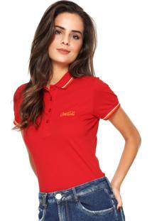 f4503e7c2f215 ... Camisa Polo Coca-Cola Jeans Reta Listras Vermelha