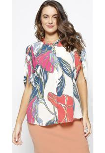 2fa78024f ... Camisa Abstrata Com Botões- Off White & Laranja- Marmorena Rosa