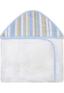 Toalha De Banho C/ Capuz Estampado Laura Baby - Avião Azul