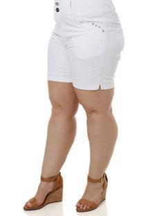6c3a472533 ... Short Sarja Plus Size Feminino Branco