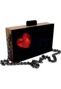 Bolsa La Madame Co Clutch Heart Black