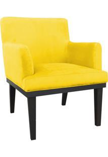 Poltrona Decorativa Vitória Para Sala E Recepção Suede Amarelo - D'Rossi