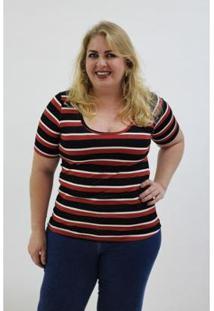 Blusa Kauê Plus Size Canelada Listrada Feminina - Feminino-Vinho