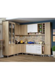 Cozinha Completa Com Balcão Sem Tampo 10 Peças 16 Portas Sicília Multimóveis Argila/Branco