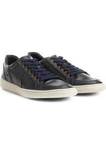 Sapatênis Couro Shoestock Recortes Masculino - Masculino-Marinho