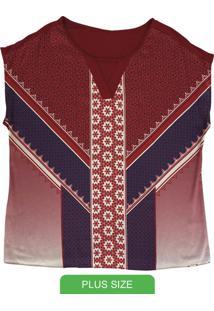 Blusa Manga Curta Com Estampa Vermelho