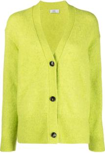 Closed Button-Up Knit Cardigan - Verde