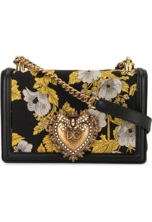 Dolce & Gabbana Bolsa Tiracolo Devotion Floral - Preto