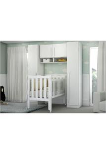 Quarto De Bebê Completo Lara Com 2 Guarda-Roupa De 1 Porta Ponte E Berço Lila Mpflex Branco