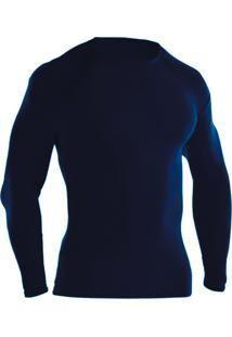 Blusa Térmica Ayron Fitness Segunda Pele Azul Marinho Lisa