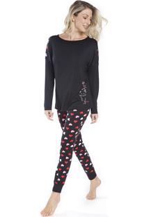 Pijama De Inverno Preto Com Corações - Kanui