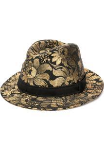 Dolce & Gabbana Chapéu Floral Com Estampa Metalizada - Preto