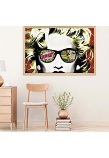Quadro Love Decor Com Moldura Madonna Em Pop Art Madeira Clara Médio