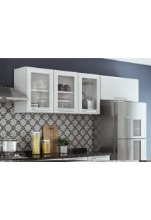 Armário Aéreo Para Cozinha 3 Portas Com Vidro 1 Porta Basculante Tarsila Itatiaia. Branco